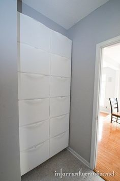 Solving my Problem with IKEA Trones - Infarrantly Creative ikea trones from floor to ceiling Trones Ikea Hack, Ikea Trofast, Ikea Hackers, Eaves Storage, Shoe Storage, Ikea Laundry, Small Space Organization, Ikea Furniture, Mudroom