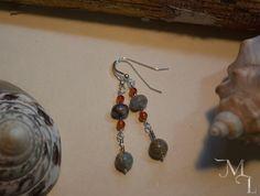 Sterling Silver, Serpentine, & Carnelian Drop Earrings by MistyLoreStudios