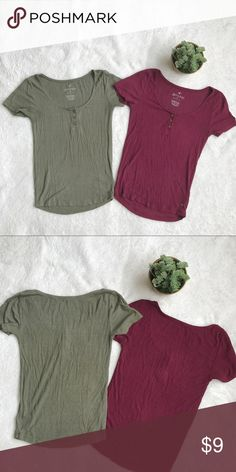 Two American eagle tops Soft & sexy American eagle shirts. Super comfortable and cute in perfect condition! One olive green and one burgundy. Both of them for $9 American Eagle Outfitters Tops Tees - Short Sleeve