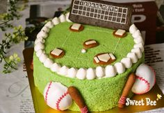 Baseball cake | Sweet Bee Takamatsu, Kagawa Prefecture «icing cookies / cake pop / cup cake, etc. Suites deco classroom »« Sand Art / Gel candles classroom»