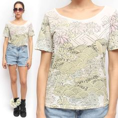 Urban Outfitters Pastel Floral Asian Graphic Print Scoop Neck Cotton T Shirt | eBay