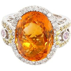 Preowned Amazing Citrine Pink And Yellow Sapphire Diamond Gold... ($1,630) ❤ liked on Polyvore featuring jewelry, rings, cocktail rings, yellow, pre owned diamond rings, gold diamond rings, diamond rings and citrine rings