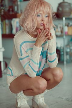 Pastel hair Model Mathilda tolvanen by Kimberley Gordon for Planet Blue, #seapunk #dreamy #newface