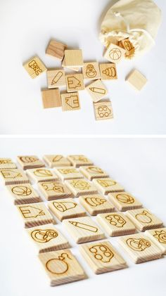 Wooden Memory Game - Montessori Learning Toy - Educational toy Informations About This item is unava Wooden Crafts, Wooden Diy, Diy Sensory Board, Best Educational Toys, Bois Diy, Homemade Toys, Homemade Cards, Memory Games, Montessori Toys