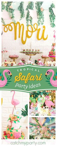 Swoon over this amazing girl tropical safari birthday party! The flamingo tiered birthday cake and decorations are stunning! See more party ideas and share yours at CatchMyParty.com #catchmyparty #partyideas #safaribirthdayparty #tropical #flamingobirthdayparty