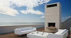 Southampton Beach House, Long Island by Alexander Gorlin Architects Contemporary Outdoor Fireplaces, Modern Outdoor Fireplace, Contemporary Beach House, Outdoor Fireplace Designs, Outdoor Living, Outdoor Lounge, Outdoor Pool, Outdoor Spaces, Southampton Beach