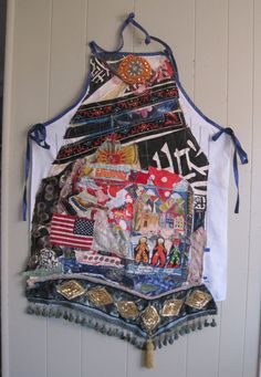 altered APRON myBonny Fabric Collage Wearable Folk Art Patchwork Couture
