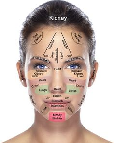 Reflexology chart of the face (acupressure, acupuncture).