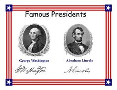 Famous Presidents George Washington and Abraham LincolnThis 36 page booklet explores the basic information about Washington and Lincoln early life as well as their rise to public life. This 36 page booklet discusses some of their great accomplishments and how we as a nation have immortalized them.