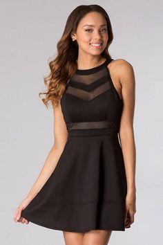 2014 new formal dress : A-line High Neck Sheer Short Black Semi Formal Dress - ULOVEE
