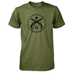 Pro Second Amendment Shirt - Quote Crossed Pistols & III