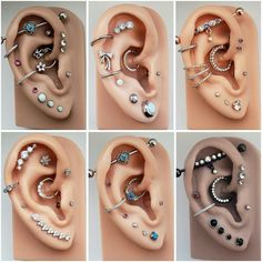 14 Cute and Beautiful Ear Piercing Ideas For Women - Biseyre Trending Ear Piercing ideas for women. Ear Piercing Ideas and Piercing Unique Ear. Ear piercings can make you look totally different from the rest. Piercing Chart, Ear Piercings Chart, Different Ear Piercings, Cool Ear Piercings, Ear Peircings, Types Of Ear Piercings, Multiple Ear Piercings, Body Piercings, Female Piercings