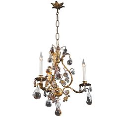 Small wrought  iron and fruit ornament chandelier | From a unique collection of antique and modern chandeliers and pendants  at http://www.1stdibs.com/furniture/lighting/chandeliers-pendant-lights/