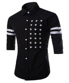 Men's Half Sleeve Black Shirt Slimming with Five-Point Star Stripe Print. Cotton-Polyester Blend.