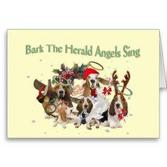 Basset Hound  Bark Herald Angels Sing Greeting Card