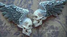 "Porcelain Cabochon ""Classic Rock of Ages"" Winged Skulls by Laura Mears"