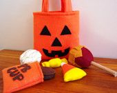 Halloween Candy Felt Play Food with Pumpkin Treat Bag - Eco Friendly Felt Stuffed with Sustainable Bamboo Fiber