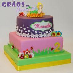 Sininho - Flores | Recortado | bolo 2 anos | Grãos de Açúcar - Bolos decorados - Cake Design