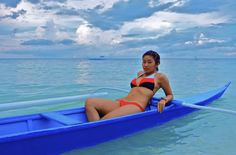 Enjoy taking photos of beautiful ladies on Boracay Island doing different activities. Here we see a lovely girl in a two-piece bikini in a small wooden boat. Regions Of The Philippines, Philippines Travel, Beach Resorts, Hotels And Resorts, Boracay Hotels, Girls Wearing Bikinis, Boracay Island, Visayas, Love Boat
