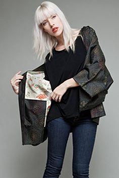 authentic vintage Japanese short kimono jacket by shoprabbithole, $95.00