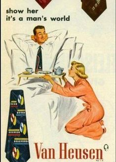 """Evidently this was part of the 50's era """"Dickheads Wear Van Heusen"""" ad campaign.  Still, you have to admire a guy with the stones to get back into bed fully dressed and strike that pose just in time to get a lap full of scalding grits!"""