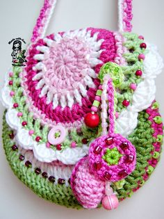 Crochet pattern  purse Garden scene collection by VendulkaM, $5.30