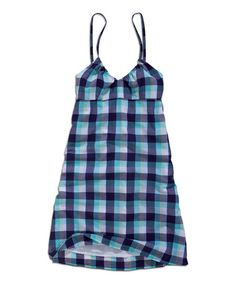 Look what I found on #zulily! Turquoise Gingham V-Neck Dress by TIMEOUT #zulilyfinds