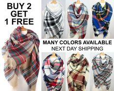 SaleNew Winter Plaid Blanket Oversized Tartan Scarf by CustomzShop