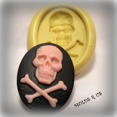 cameo skull with bones mould/ mold flexible silicone by moldsrus, $4.95
