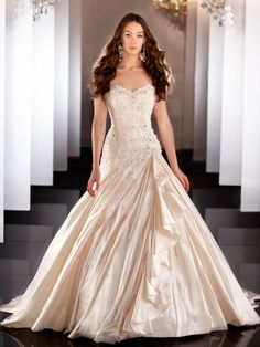 Sweetheart Beaded Bodice Ball Gown Wedding Dress with Ruched Skirt - Buyanewdress.com