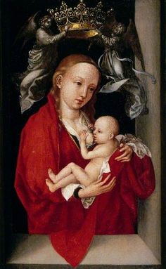 'Maria Lactans', The Virgin and Child Crowned by Angels // 1470-1475 // Martin Schongauer // Compton Verney