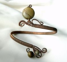 handmade wire bangles | Handmade adjustable wire wrapped bracelet. Picasso jasper ... | Jewel ...