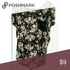 Vintage floral black and white blouse Like new black, floral blouse with decorative lace pocket. Tops Blouses
