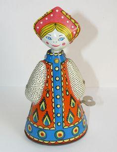 1970s Vintage USSR Russian Soviet Wind Up Tin Toy Folk Costume Doll w/Key