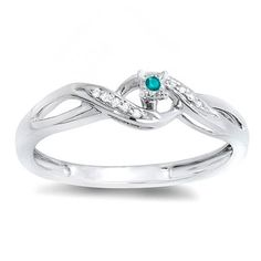 Elora Sterling Silver 1/20ct TW Round Blue and White Diamond Crossover Bridal Promise Promise Rin (Size 6, Sterling Silver), Women's