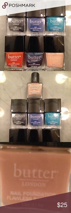 """Butter London Nail Polish Set of 6 Like New! Tried each color once, unfortunately the colors didn't work for me. Starting from left to right, colors include; Chimney Sweep, Giddy Kipper, Slapper, Brick Lane, Petrol, Nail Foundation( I used this one as you can see from the close up picture it's about 98% full) Each bottle is 2oz each. Measures 2"""" butter london  Makeup"""