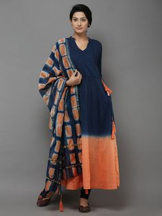 Blue Orange Cotton Angrakha Kurti with Chanderi Dupatta - Set of 2