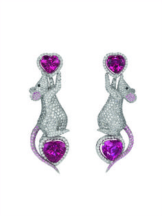 Hickory, Dickory, Dock—The Diamond Mouse Ran Up Your Ears.  Chopard Pink Sapphire & Diamond  Earrings