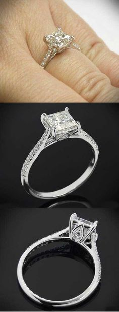 3 views of the classic Tapered Diamond Pave Setting by Vatche for Whiteflash | Princess Cut Engagement Rings - bridesandrings.com