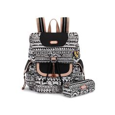 Sakroots Artist Circle Flap Backpack Bags ($79) ❤ liked on Polyvore featuring bags, backpacks, black and white one world, laptop backpacks, black laptop backpack, black drawstring backpack, multi pocket backpack and laptop bag