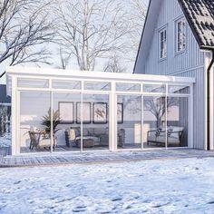 Fira - Anslutning bakkant Brutet hörn vänster Porch Area, Roof Tiles, Pergola Designs, Warm Colors, Dining Room Table, Animal Shelter, Backyard, Exterior, Outdoor Decor