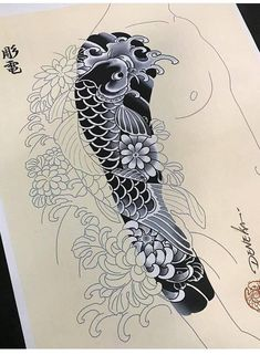 I sincerely am keen on the colorings, lines, and linework. This is definitely a fantastic tattoo design if you would like a Koi Tattoo Sleeve, Full Sleeve Tattoo Design, Dragon Sleeve Tattoos, Japanese Sleeve Tattoos, Full Sleeve Tattoos, Cover Up Tattoos, Tattoo Ink, Irezumi Tattoos, Arm Tattoos