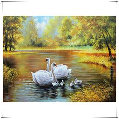 Pastoral diamond embroidery needlework cross stitch set full swan a family diamond flower diy diamond painting Autumn Landscape #Affiliate