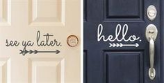 Vinyl Front Door Decals - these are so cute! Vinyl Crafts, Vinyl Projects, Home Projects, Weekend Projects, Front Door Decor, Front Porch, Front Doors, Up House, Porch Decorating