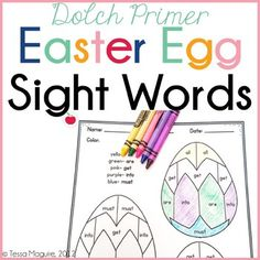 Dolch Primer Easter Egg Sight Words: Color by Word by Tessa Maguire Easter Worksheets, Easter Activities, Transition Sentences, Sight Word Coloring, Egg Styles, Reading Comprehension Passages, Math Facts, Therapy Activities, Sight Words
