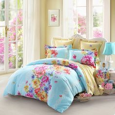 Purple Yellow and Sky Blue Contemporary Flower Print Asian Inspired Rustic Chic Vintage Full, Queen Size Bedding Sets