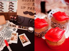 super awesome mustache and lips party. mostly just pics but lots of ideas