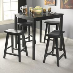 NEW Wooden Counter Height Table 4 Stools Breakfast Bar Nook Dining Pub Set Black in Home & Garden, Furniture, Dining Sets | eBay