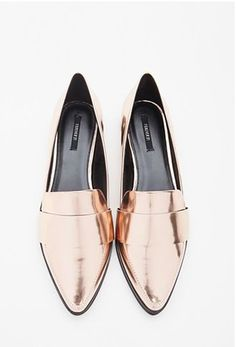 rose gold metallic loafers