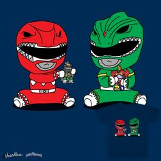 Loved Power Rangers growing up. I thought of the Red and Green Ranger and came up with the idea of them as Chibi Kids playing together with each others Megazords.
